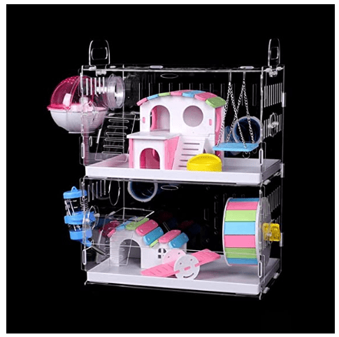 DuvinDD 2-Tier Hamster Cage with Crossover Tunnels Tubes
